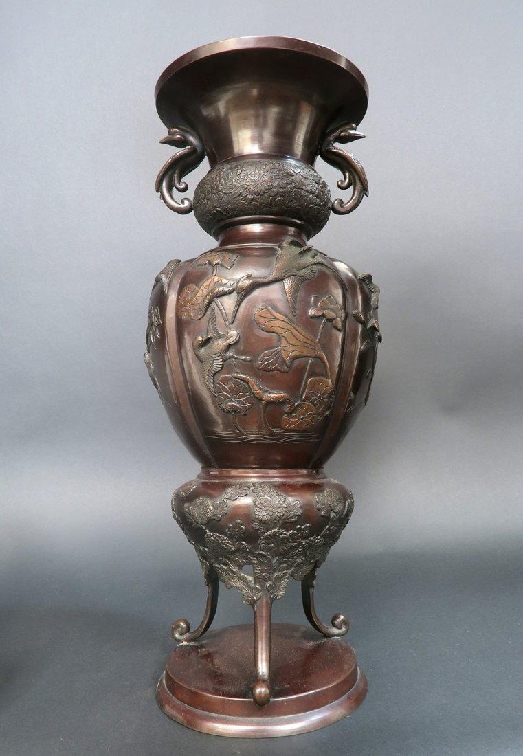 Large Figural Japanese Bronze Vase