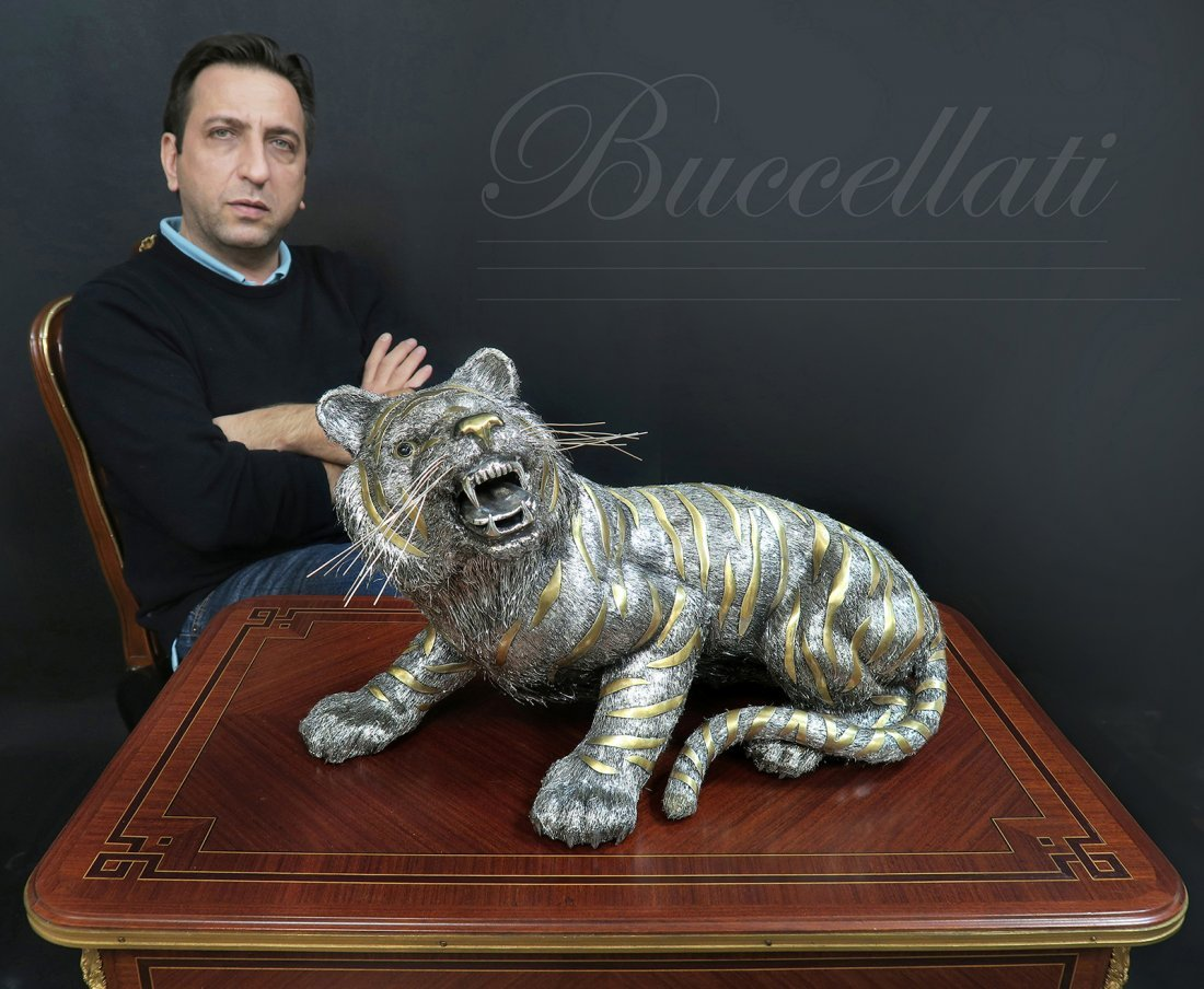 Large Buccellati Parcel-Gilt Silver Tiger. Signed!