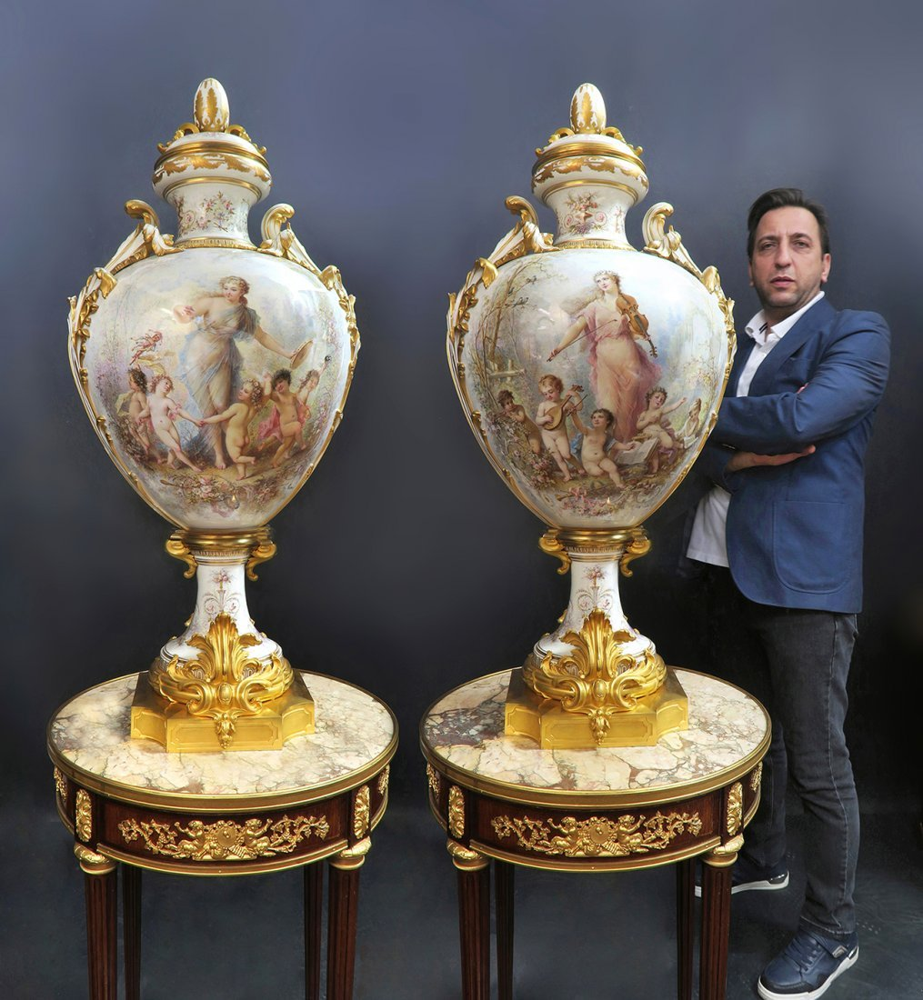 Monumental Pair of Sevres Vases
