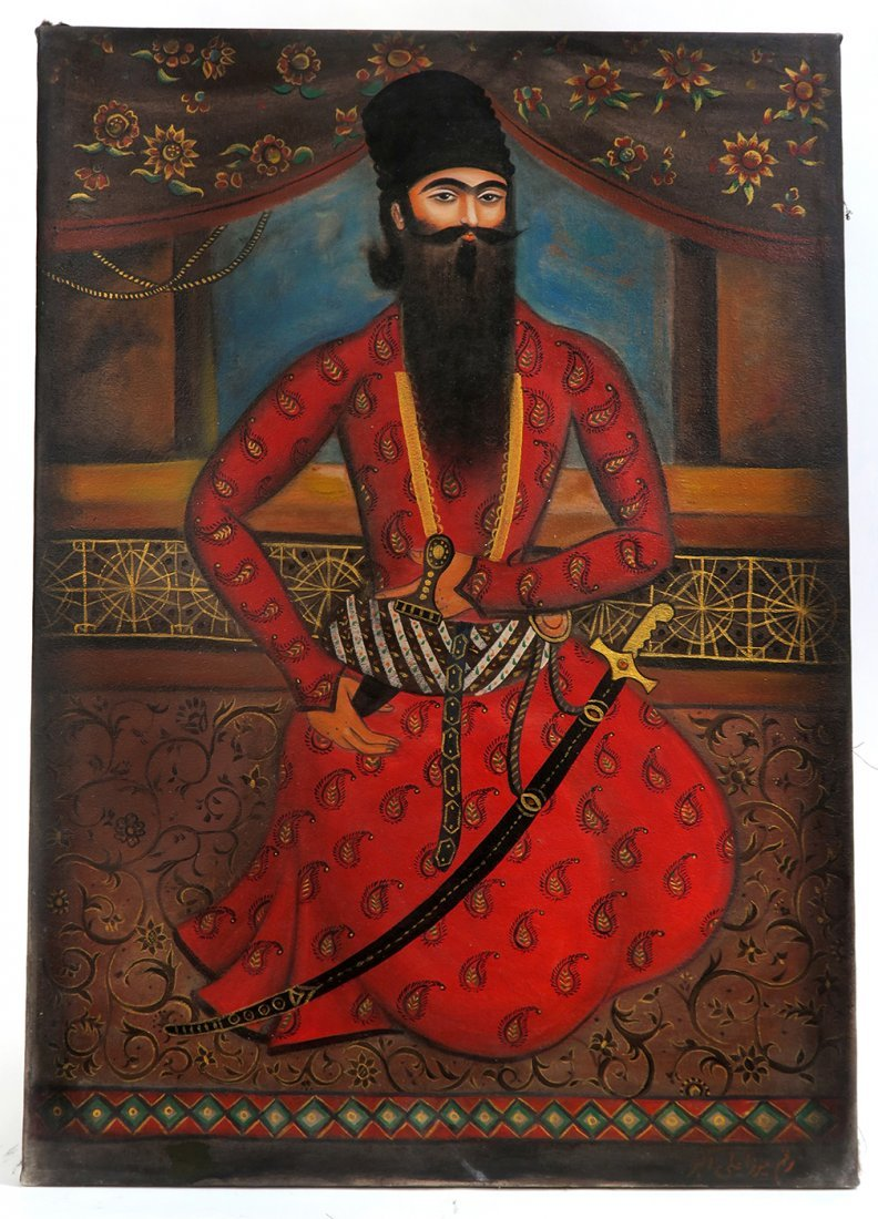 Persian Qajar Oil On Canvas Mirza Ali Akbar