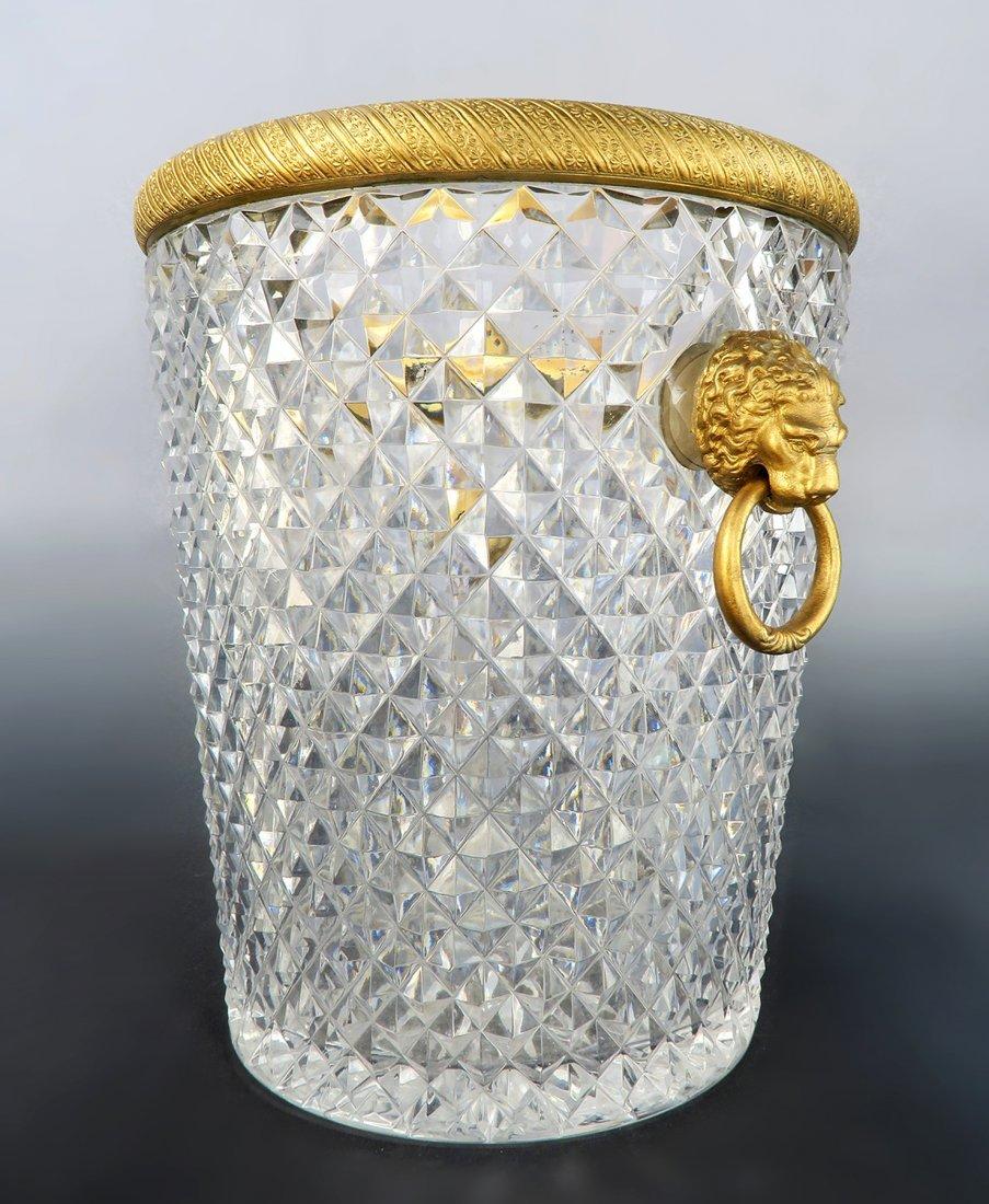 Large Baccarat Crystal & Bronze Ice Bucket, 19th C.