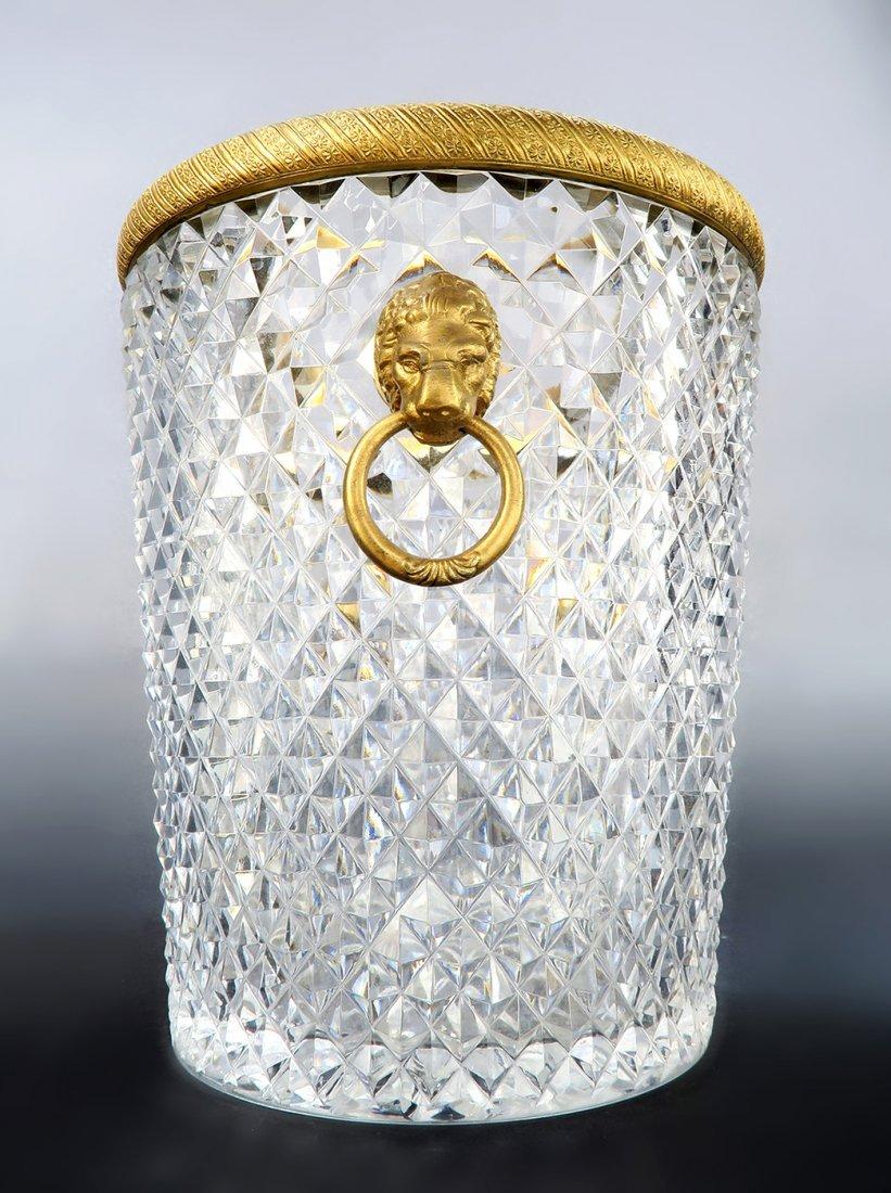 Large Baccarat Crystal & Bronze Ice Bucket, 19th C. - 2