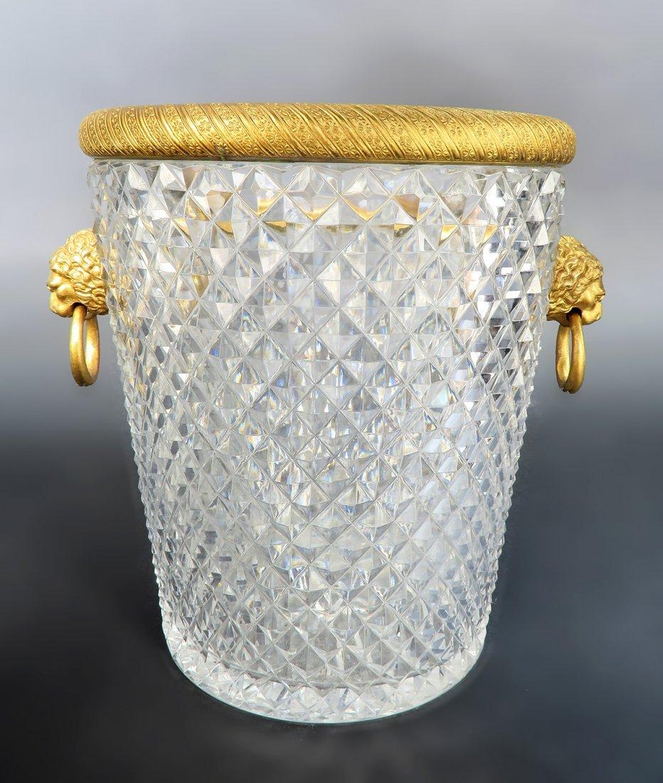 Large Baccarat Crystal & Bronze Ice Bucket, 19th C. - 3