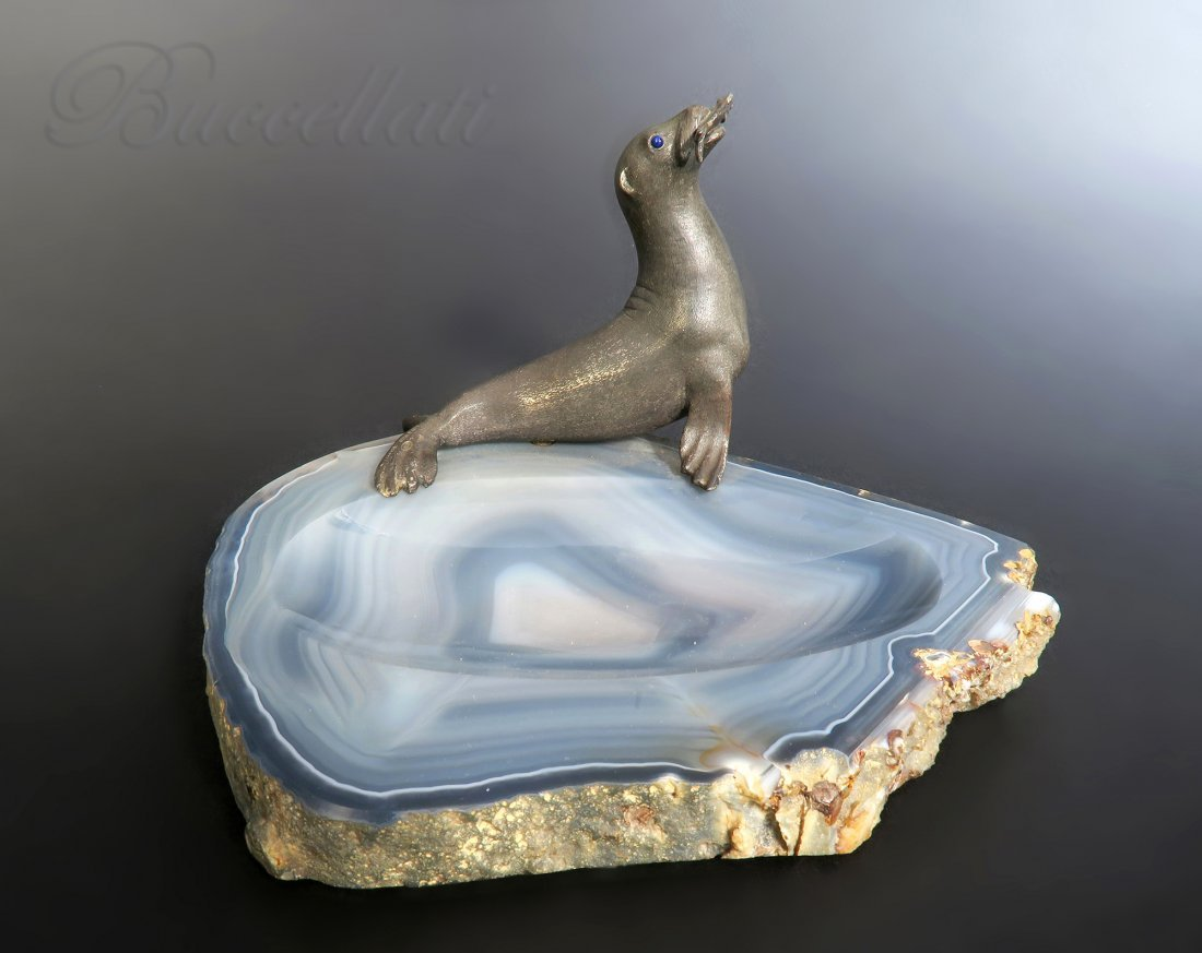 """Buccellati"" Silver Sculpture of a Seal on Agate"