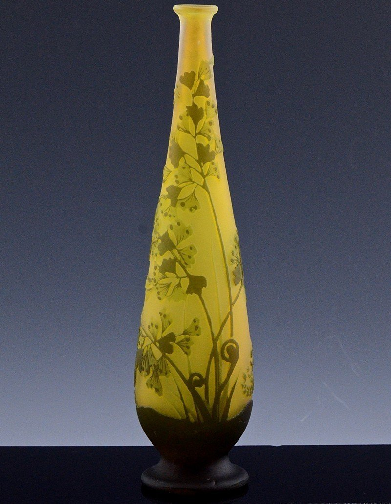 SIGNED GALLE CAMEO CUT ART GLASS FLOWER PATTERN VASE