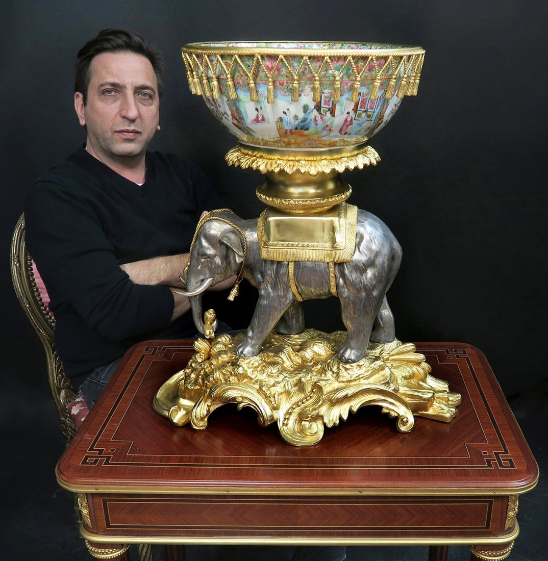 19th C. French Bronze Chinoiserie Centerpiece