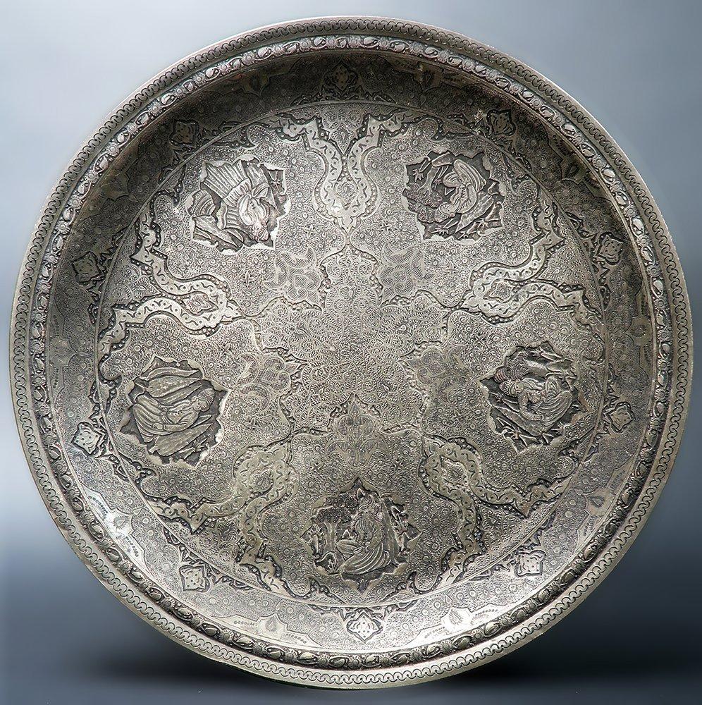 """Persian Engraved (Ghalam-zani) Signed """"Amir Saee"""" Tray"""