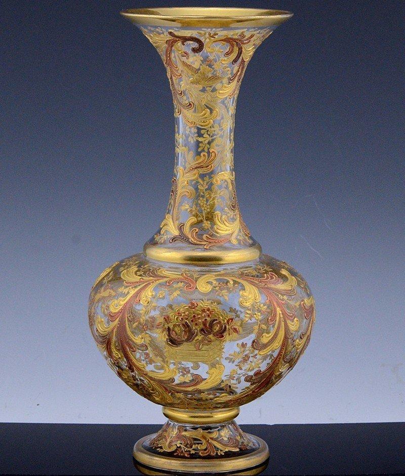 MOSER CHINOISERIE BIRD BUTTERFLY GOLD ENAMEL GLASS VASE