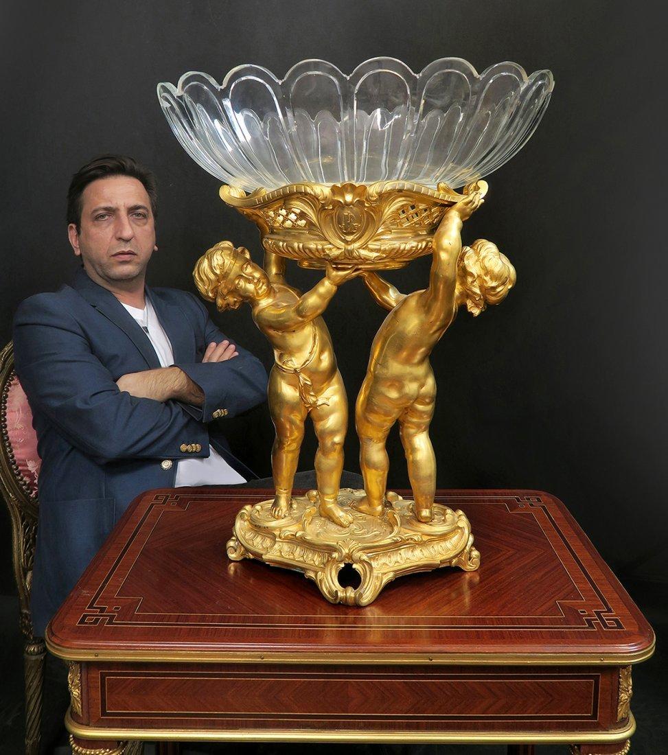 Large Bronze & Baccarat Crystal Figural Centerpiece