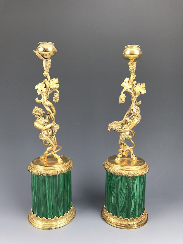 French Gilt Silver Figural Statue Mounted on Malachite