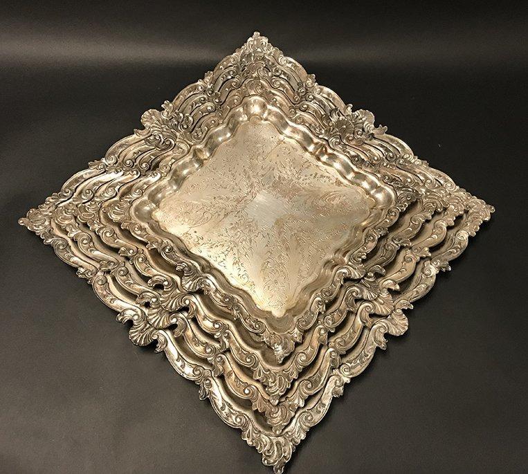 Set of 4 Heavy Goldfeder Silver Co. Trays