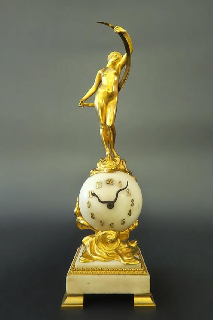 French Monumental Gilt Bronze & White Marble Clock
