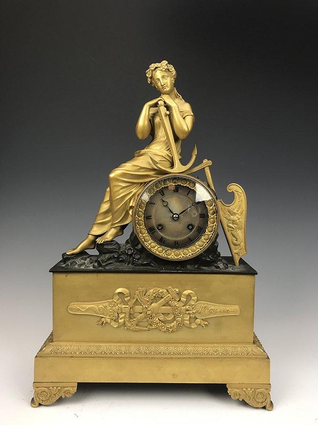 19th C. French Empire Gilt Bronze Figural Clock
