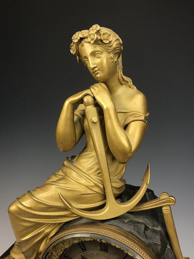 19th C. French Empire Gilt Bronze Figural Clock - 2