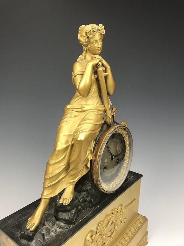 19th C. French Empire Gilt Bronze Figural Clock - 4