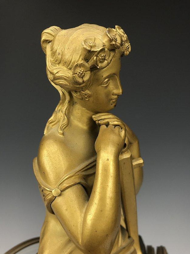 19th C. French Empire Gilt Bronze Figural Clock - 6