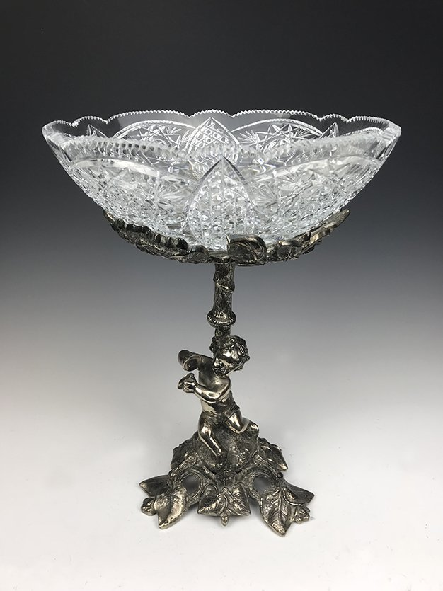 Heavy Silver-Plated Bronze and Cut Crystal Centerpiece