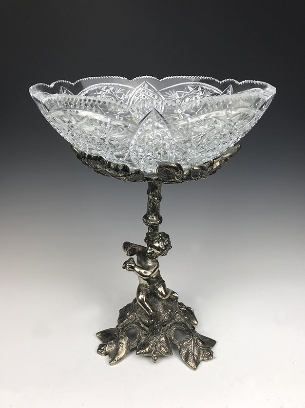 Heavy Silver-Plated Bronze and Cut Crystal Centerpiece - 2