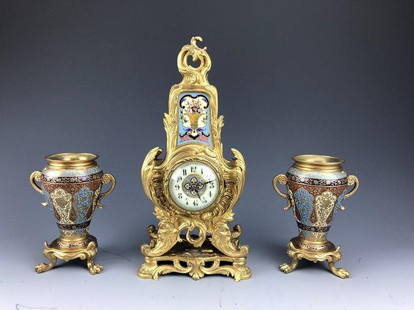 Magnificent Bronze & Champleve Enamel Clock Set