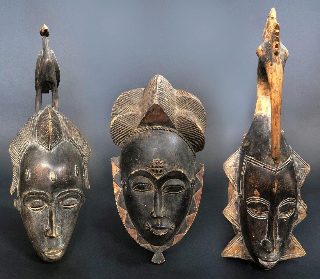 "Rare Old African Art ""Baule (Goli)"" masks Set (3 Pcs)"