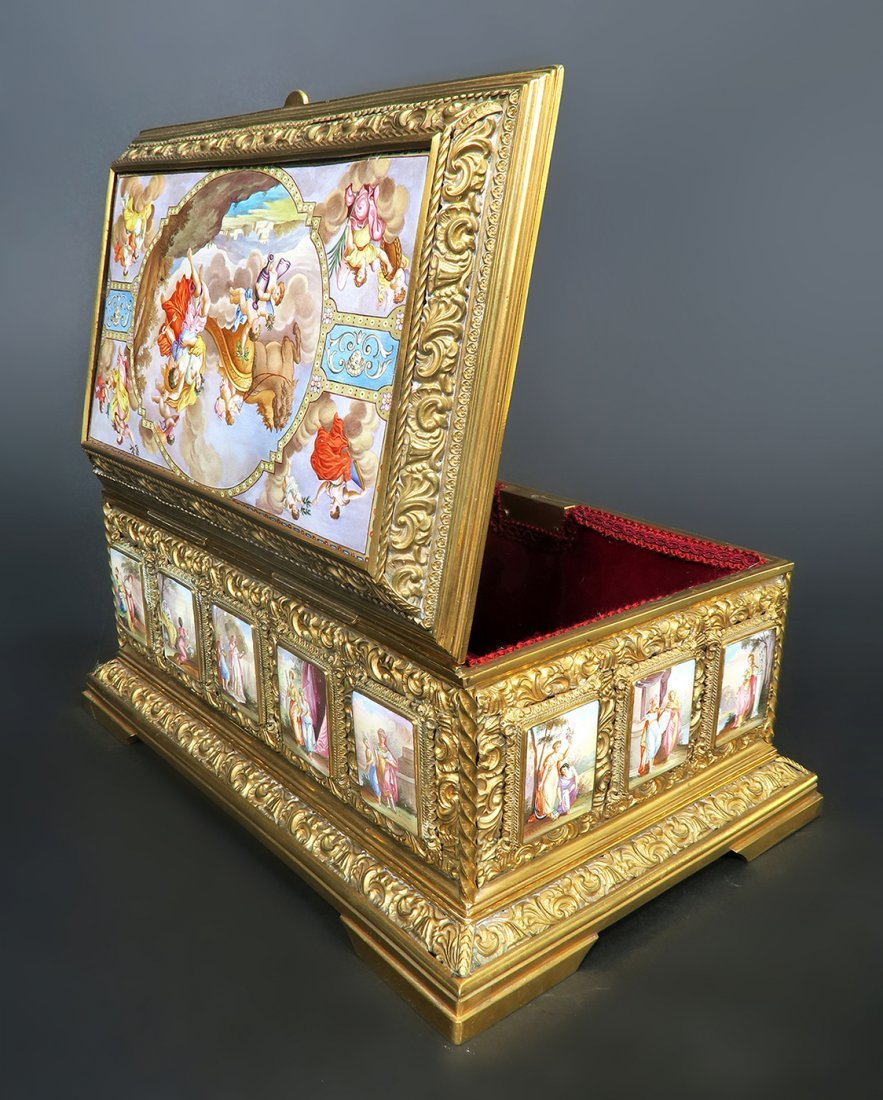 19th C. Large Viennese Bronze Enamel Jewelry Box