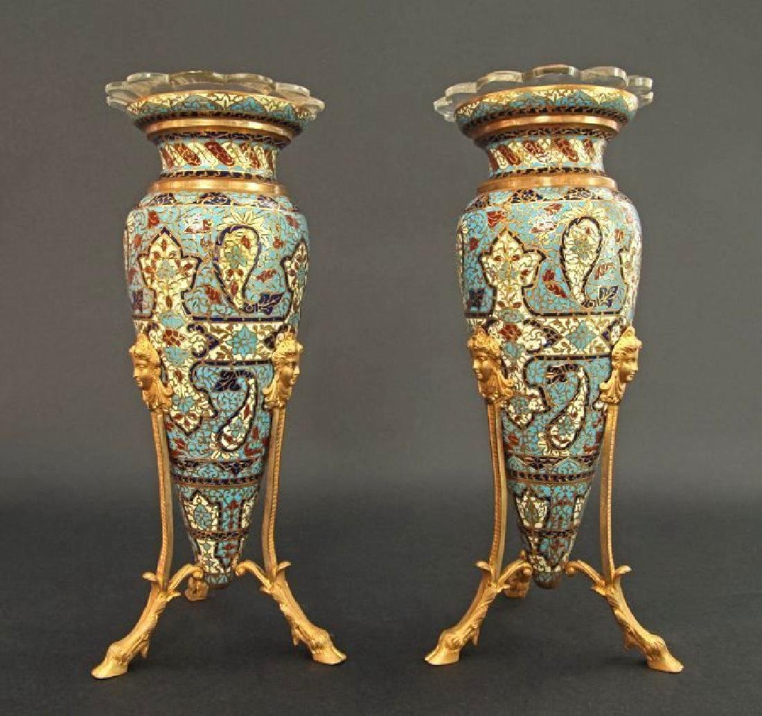 Pair of Champleve Vase Amphora Attr. to Barbedienne