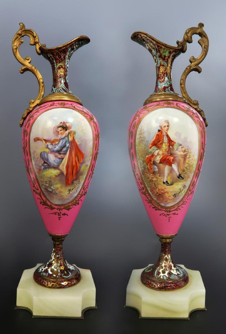 19th C Pair of French Bronze & Champleve Ewers