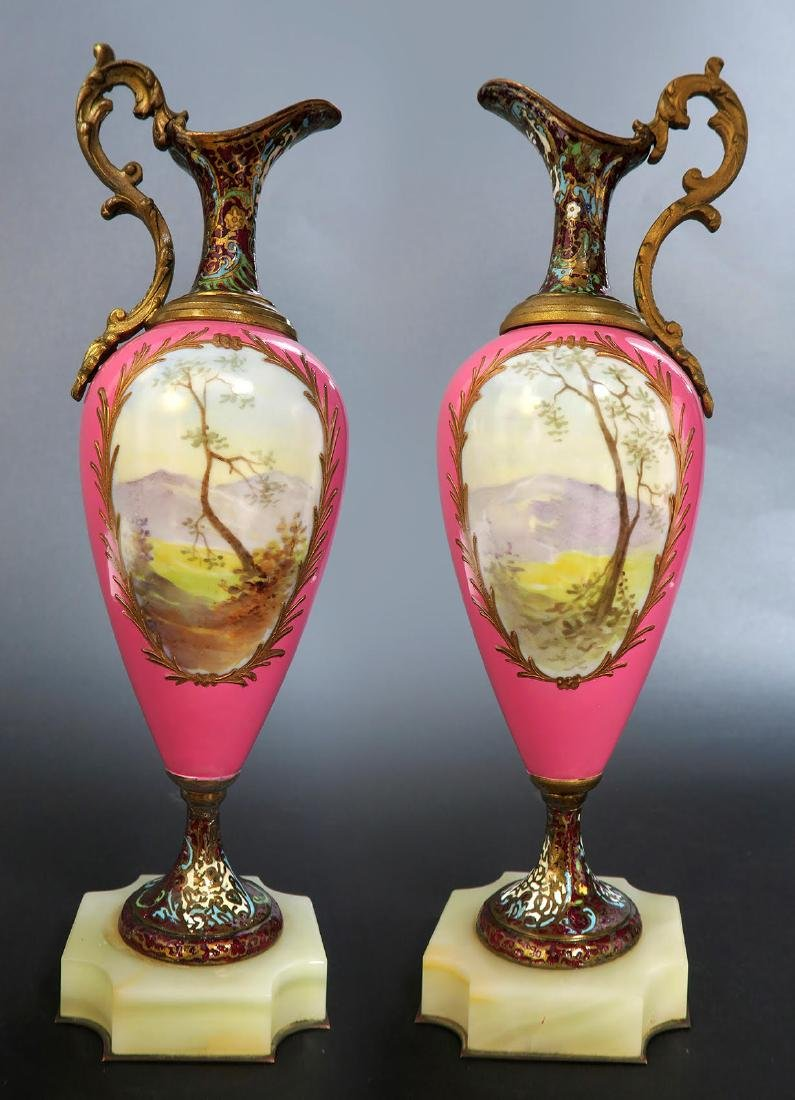 19th C Pair of French Bronze & Champleve Ewers - 2