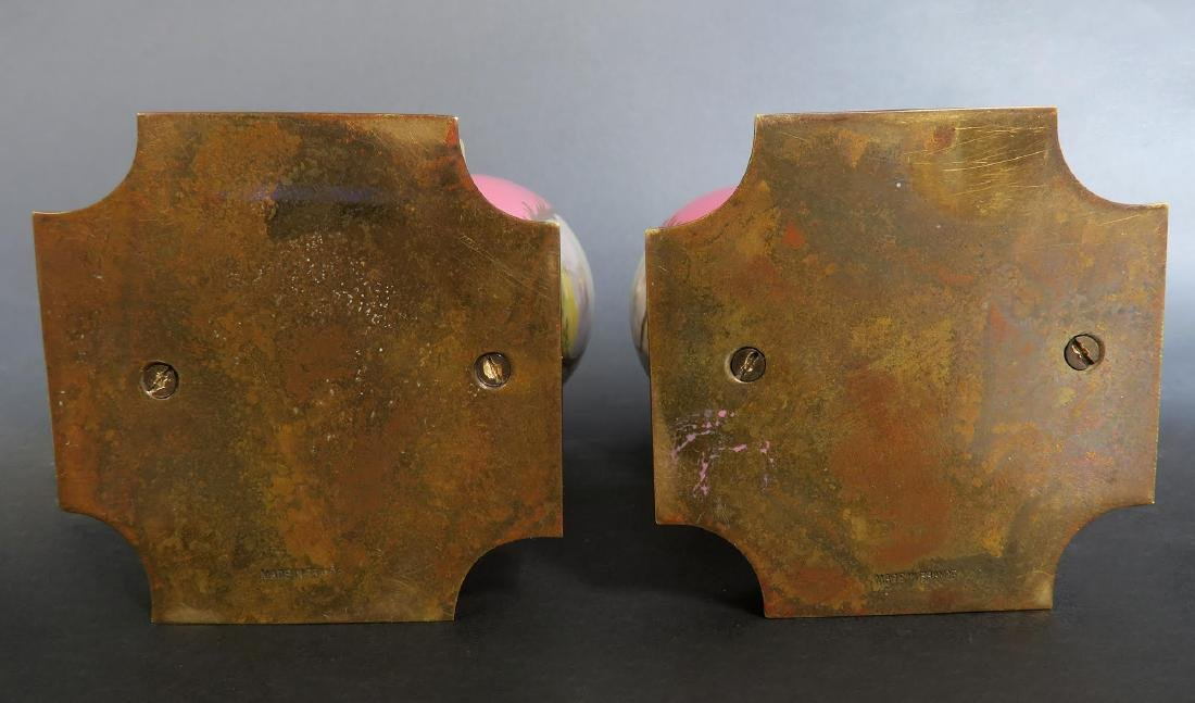 19th C Pair of French Bronze & Champleve Ewers - 6