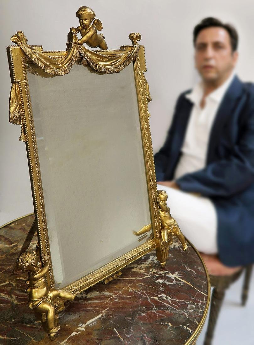 Large 19th C. French Figural Bronze Mirror