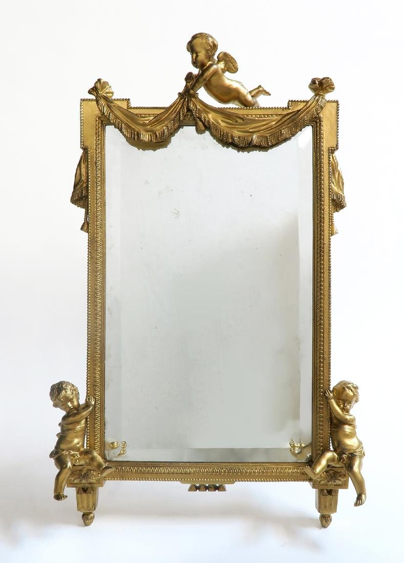 Large 19th C. French Figural Bronze Mirror - 3