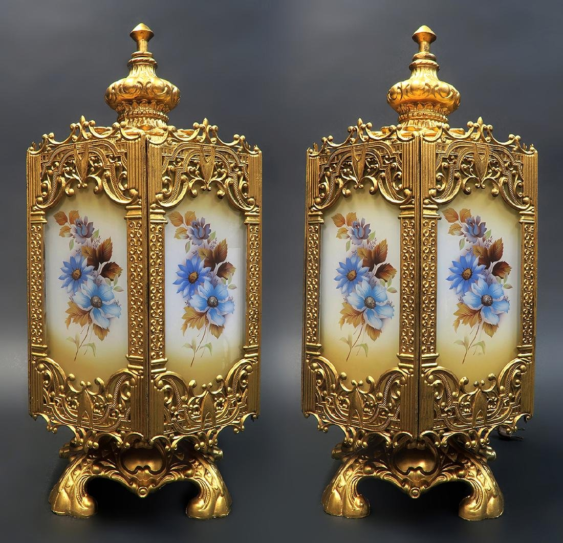 Pair Of French Art Deco Floral Lamps - 2
