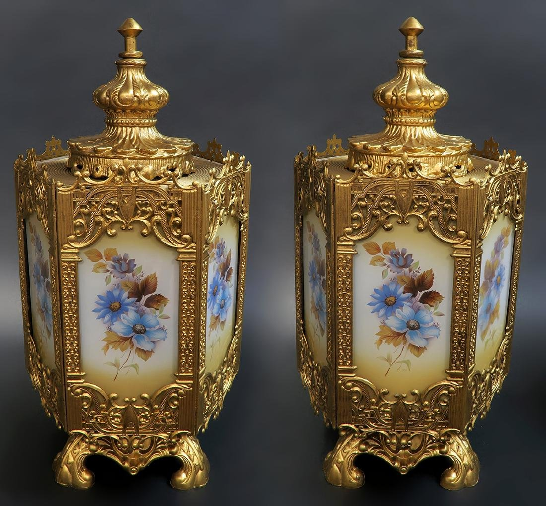 Pair Of French Art Deco Floral Lamps - 3