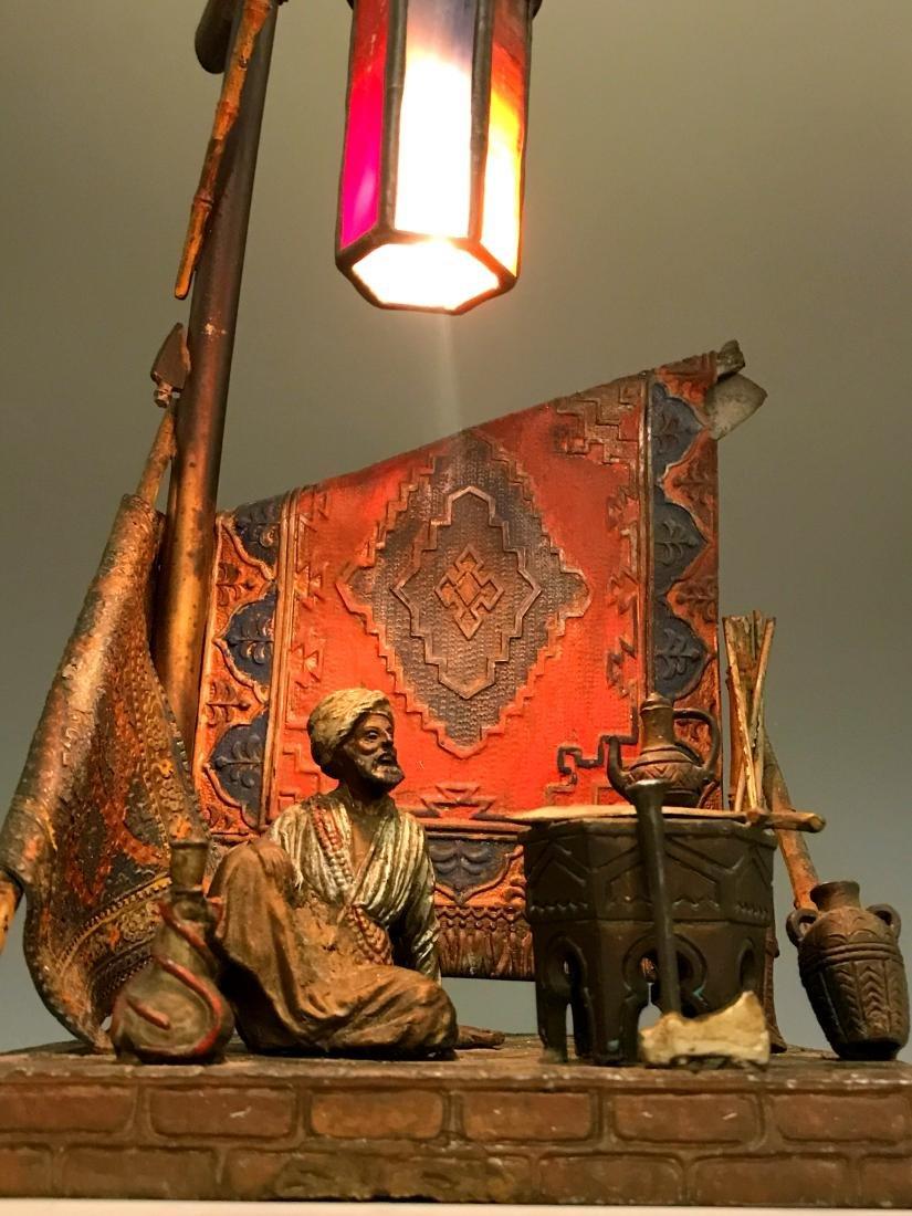 Bergman Style Orientalist Cold Painted Bronze Lamp - 2