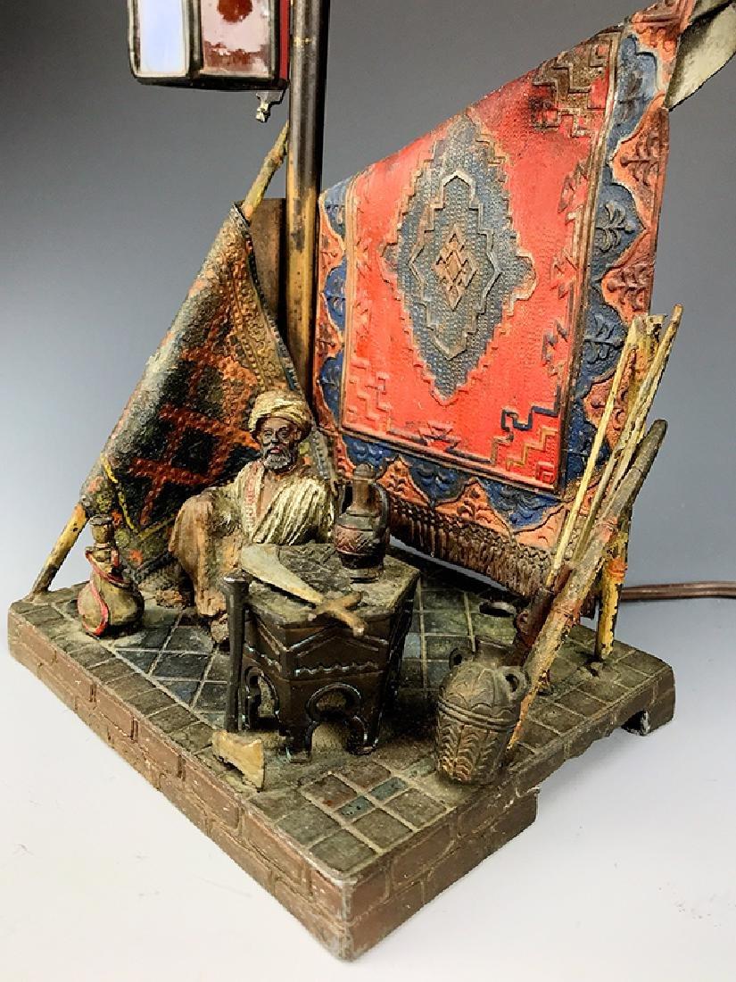 Bergman Style Orientalist Cold Painted Bronze Lamp - 3