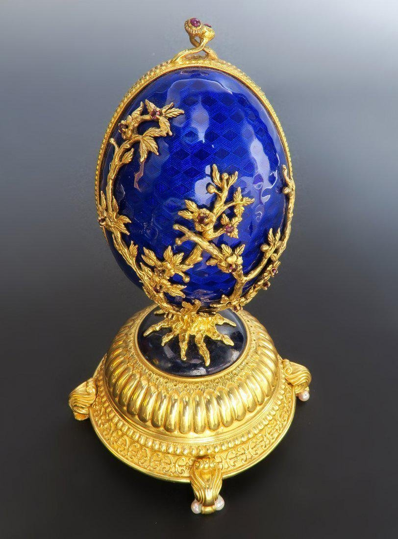 Faberge Imperial Jeweled Musical Egg, Sterling Silver - 6