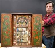 19th C. Persian Qajar Painted Mirror Cabinet Panels