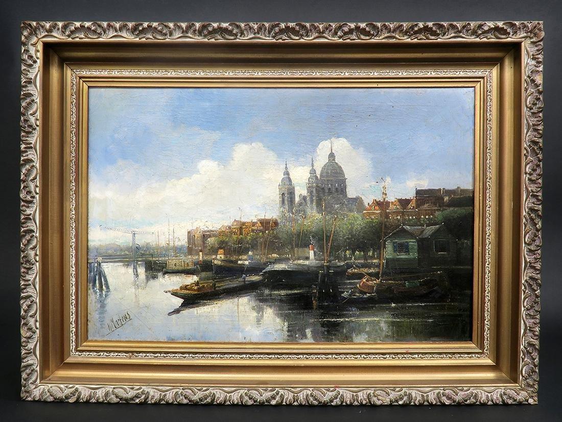 """Elliot Henry Marten"" Oil On Canvas Painting, 19th C."