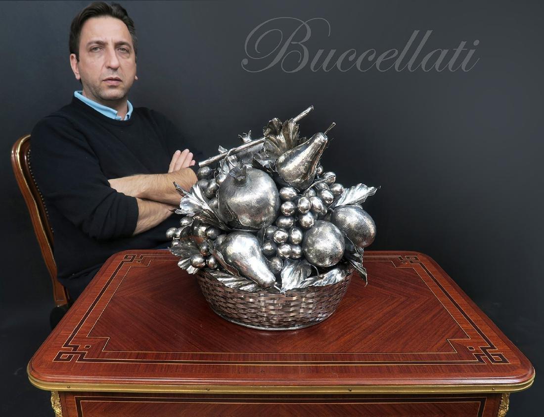 Large Buccellati Silver Fruit Basket Centerpiece