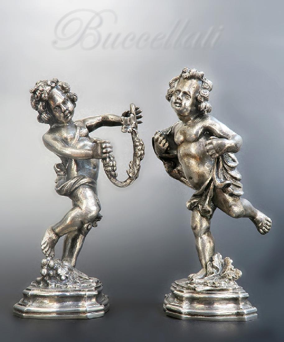 "Pair of 20th C. Silver \""Buccellati\"" Figures"
