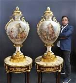 Monumental Pair of Sevres Vases