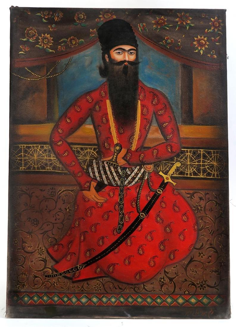 Persian Qajar Oil On Canvas Mirza Ali Akbar