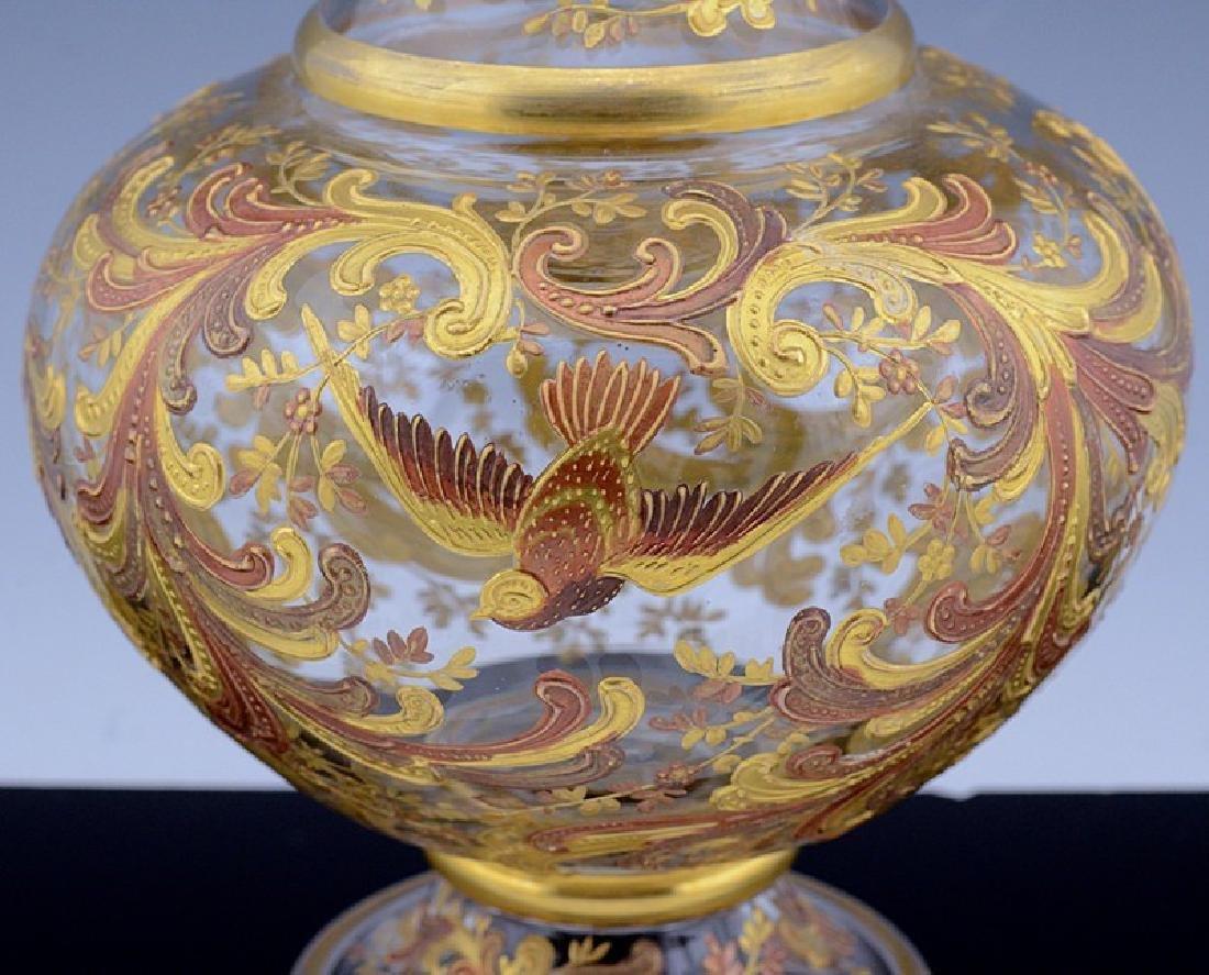 MOSER CHINOISERIE BIRD BUTTERFLY GOLD ENAMEL GLASS VASE - 10
