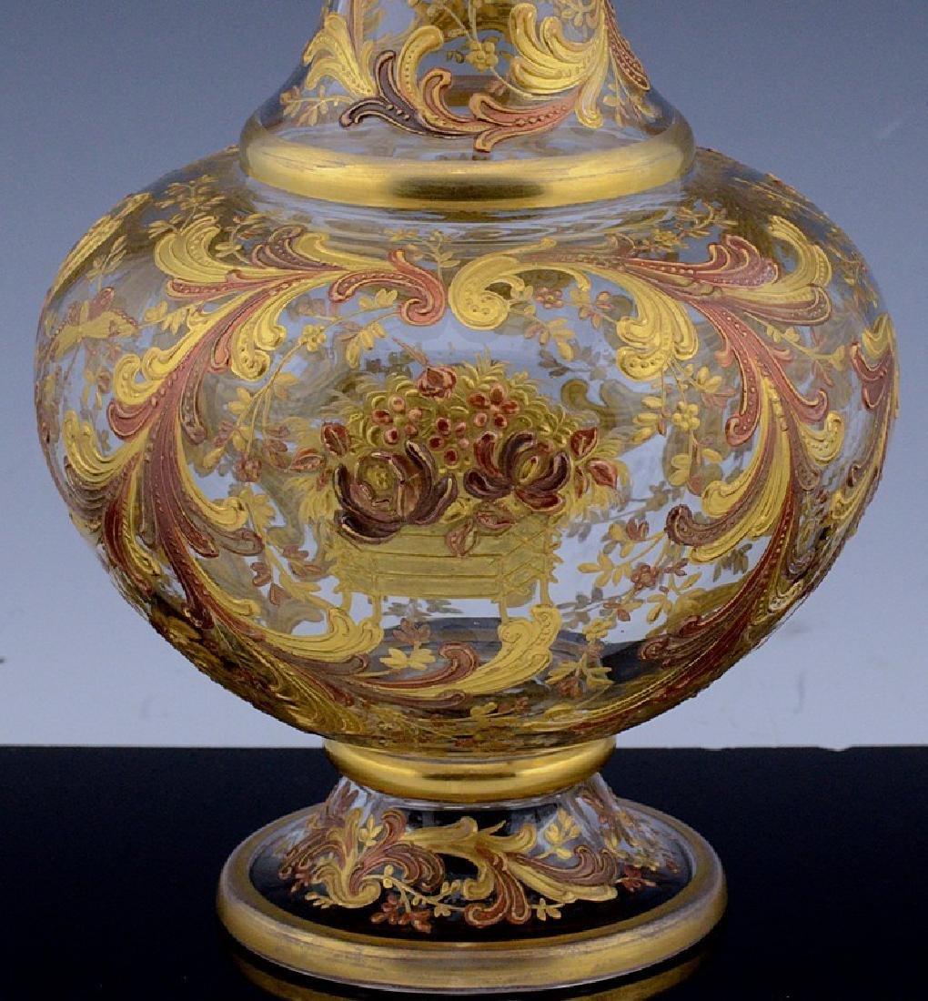 MOSER CHINOISERIE BIRD BUTTERFLY GOLD ENAMEL GLASS VASE - 6