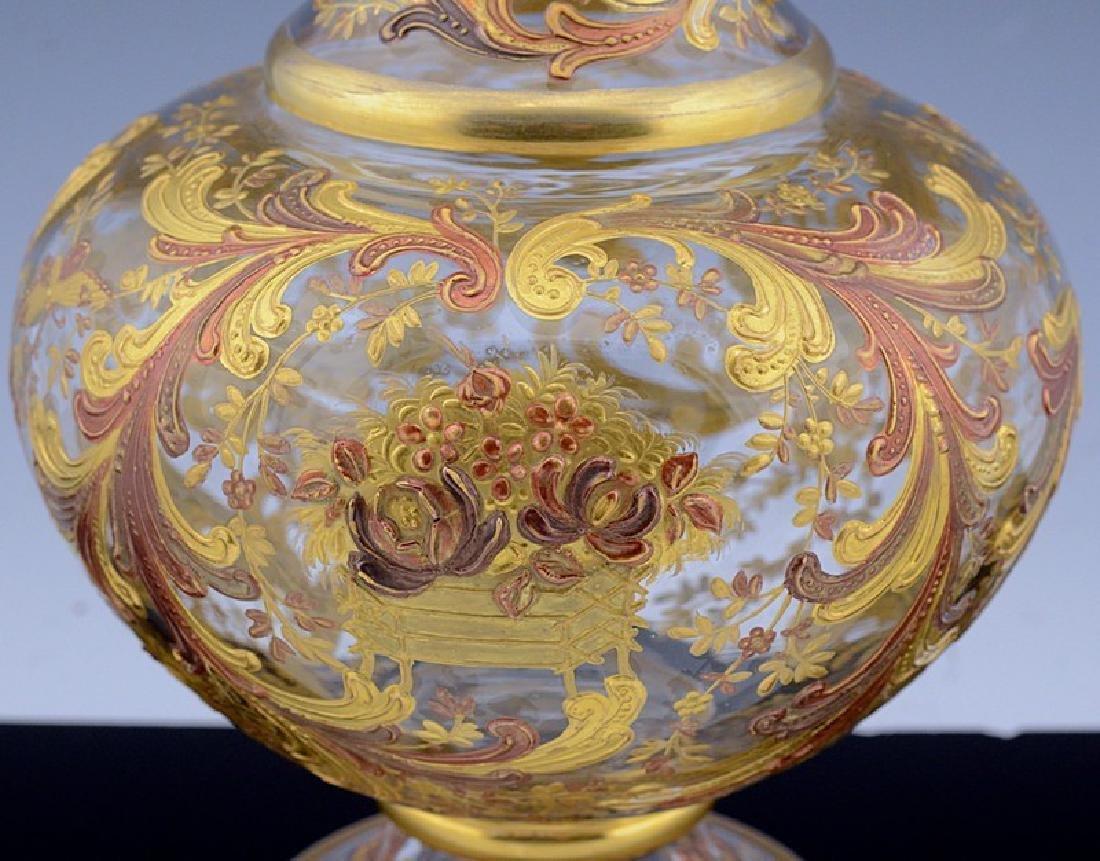 MOSER CHINOISERIE BIRD BUTTERFLY GOLD ENAMEL GLASS VASE - 8