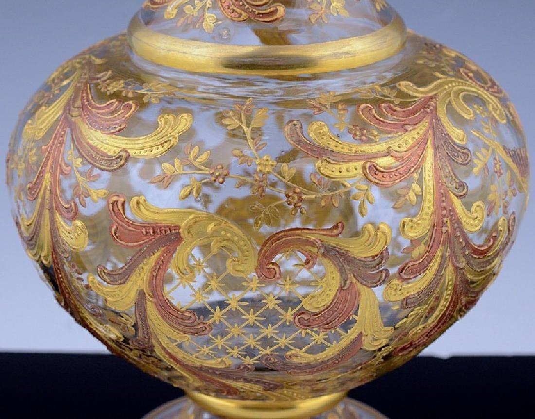 MOSER CHINOISERIE BIRD BUTTERFLY GOLD ENAMEL GLASS VASE - 9