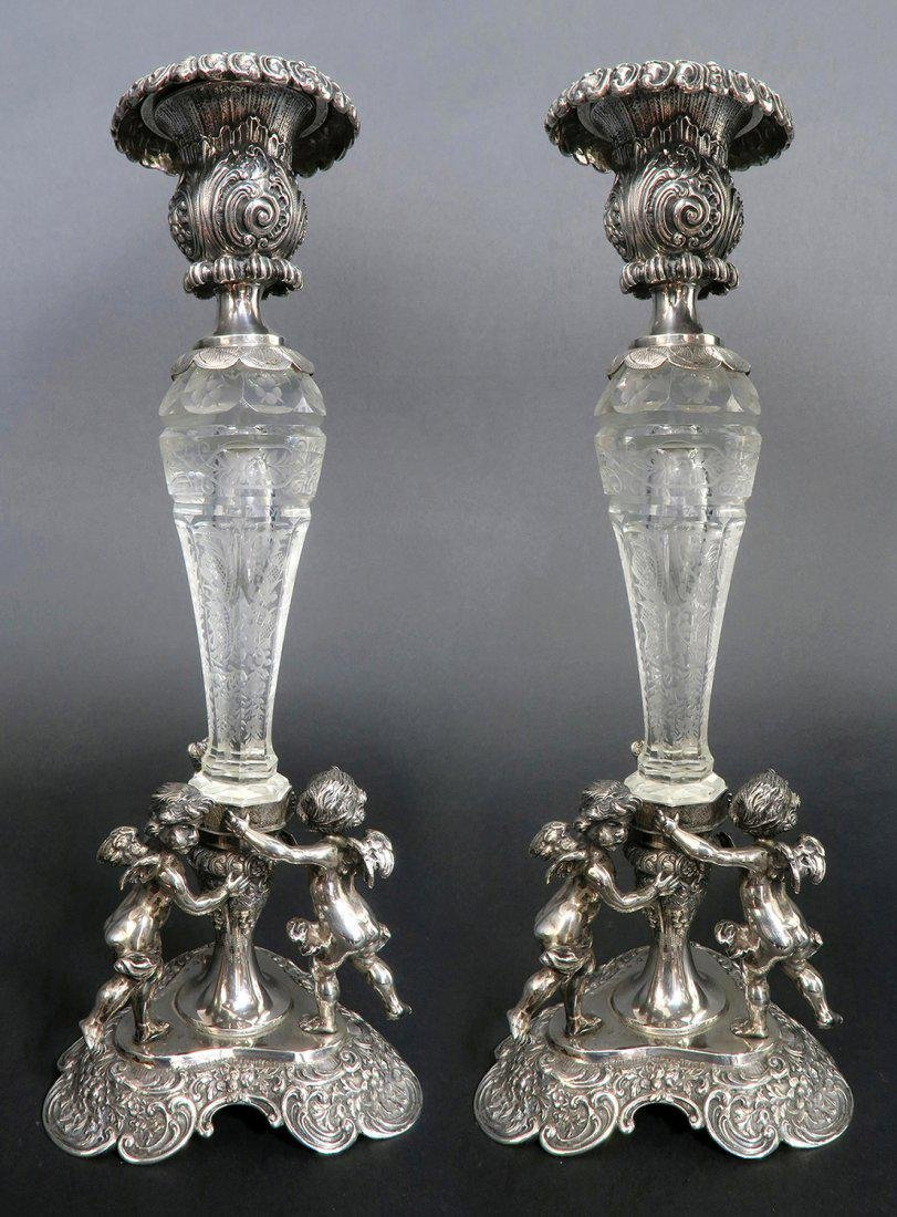A Pair of German Silver & Lobmeyr Crystal Candlesticks