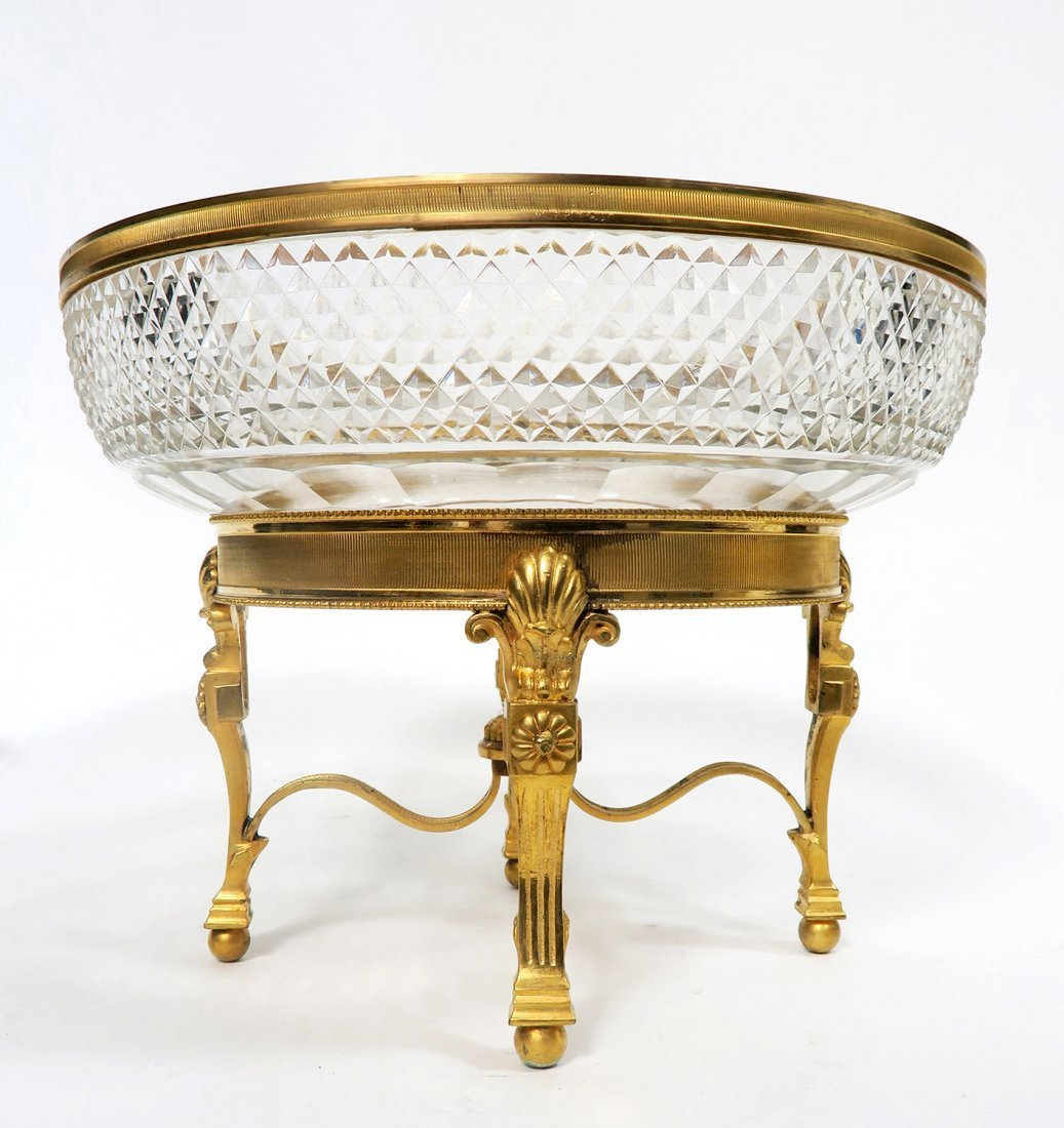 19th C. French Gilt Bronze Baccarat Centerpiece