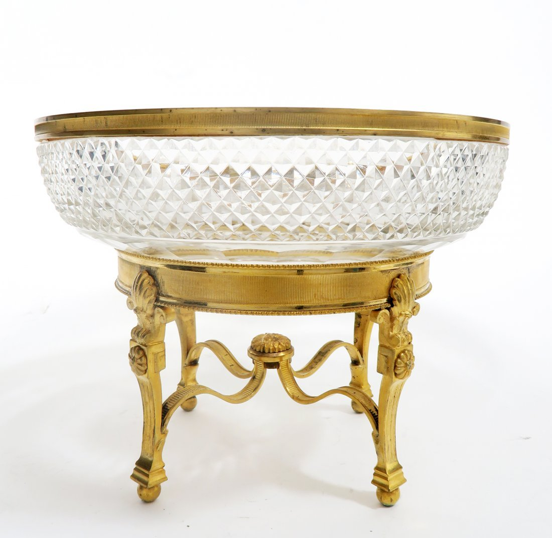 19th C. French Gilt Bronze Baccarat Centerpiece - 2