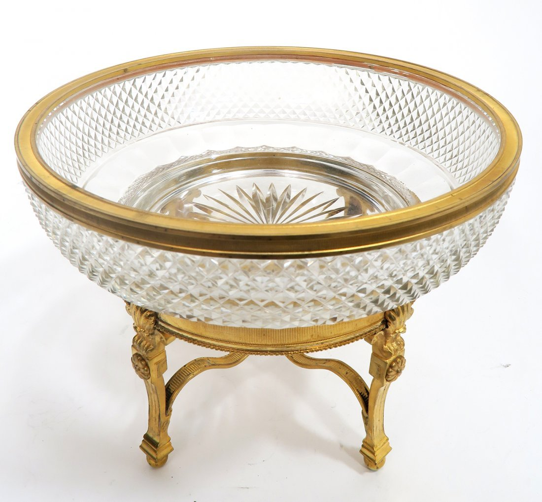19th C. French Gilt Bronze Baccarat Centerpiece - 3